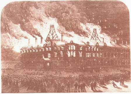Queen's Hotel Chester on fire, 1861