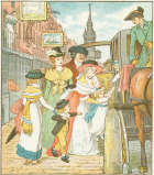 The Gilpin family embark in a coach outside their home and shop in Cheapside, London