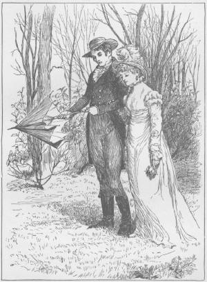 The fair Julia walks beside her young man past a copse of young trees; he is opening her Parasol as her hand rests on his arm