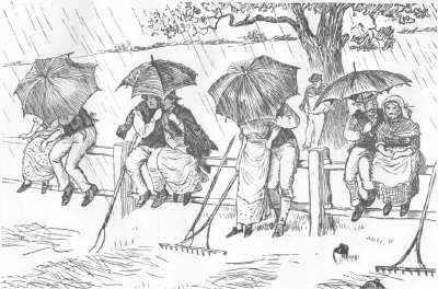Those who had been Haymaking are sheltering from the rain - but as 4 couples under 4 umbrellas. (Click to enlarge: 89 kB.)